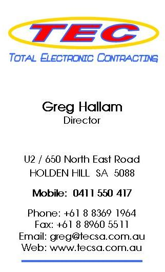 Greg Hallam Business Card