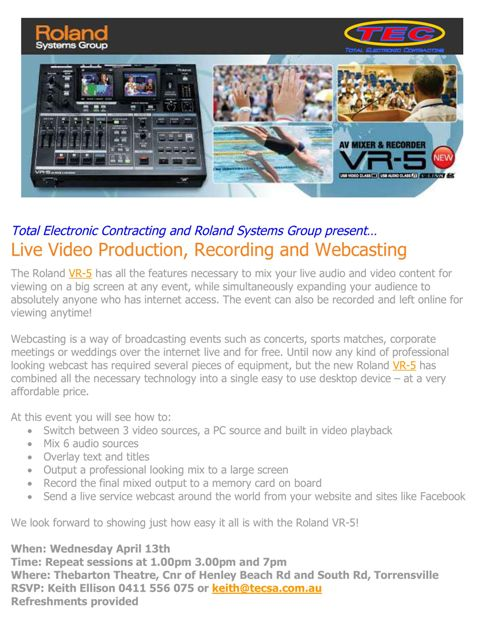 Click to down load the VR5 launch flyer